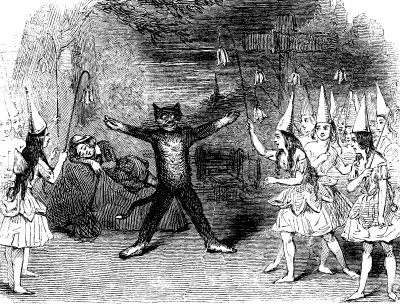"""Scene from the burlesque at """"Dick Whittington"""""""